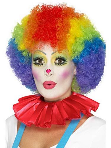 Kostüm Artisten - Luxuspiraten - Kostüm Accessoires Zubehör Clowns Kragen Halskrause Clownkragen, perfekt für Karneval, Fasching und Fastnacht, Rot