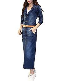 538ef55f36cf BININBOX Damen Vintage Jeanskleid Maxi Kleid Bodycon Denim Blusenkleid  Langarm mit Knopfleiste und Gürtel