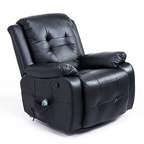 HOMCOM Massagesessel mit Wärmefunktion Fernsehsessel Relaxsessel TV Sessel mit Liegefunktion (Kunstleder Schwarz) -
