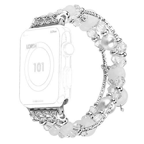 OverDose Boutique Damen Schöne Ersatz Armband Uhrenarmband Justierbares handgemachtes Nachtlichtarmband Wristband for Apple Watch Series 4 3 2 1 38mm/40mm 42mm/44mm