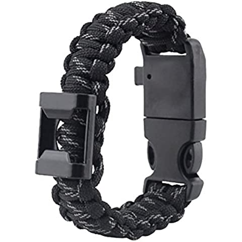 ZENDY Paracord pulsera de cuerda con abrebotellas, brújula, silbato y supervivencia al aire libre rascador multifunción firestarter acero (7 cable de cadena) (Negro Camuflaje)