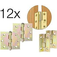 12x Scharniere Türangel Scharnier Messing Schrank Steckverbinder 25 mm für Schrank, Tür, Schublade, Möbel