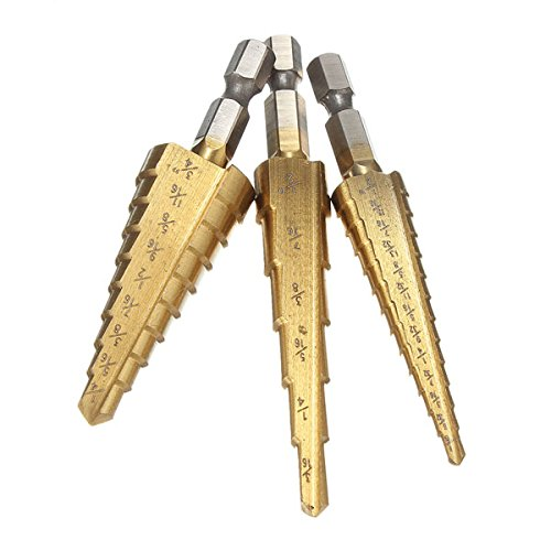 4in Hex Shank Drill Bit (ExcLent 3Pcs Titanium Coated Step Drill Bit Quick Change 1/4 Inch Hex Shank)