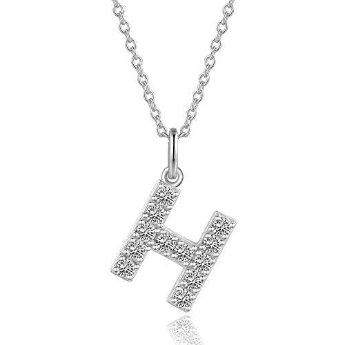 AGVANA Halskette mit Buchstabe Damen 925 Silber Initialen Kette Alphabet Namenskette Kette für Frauen Buchstabe H