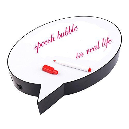 NHSUNRAY Speech Bubble Leuchtkasten Led Leuchtschilder auf Memoboards Zeichnung-Box mit 3 Farbe Marker Pen frei stehend oder Wandbehang pflegeleicht