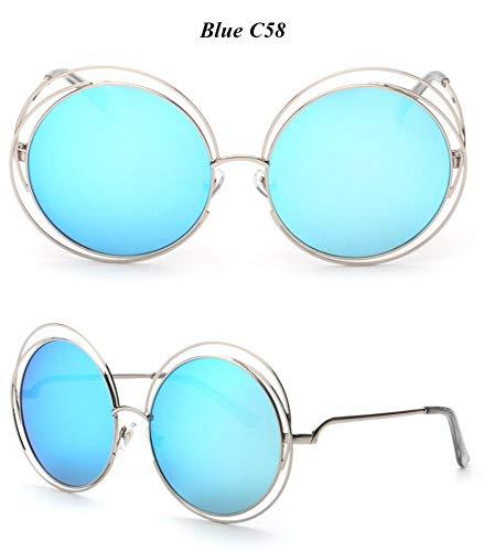 WDDYYBF Sonnenbrillen, Casual Comfort Runde Wire Frame Beschichtung Intage Fgrayion Sonnenbrille Frauen U 400 Blau