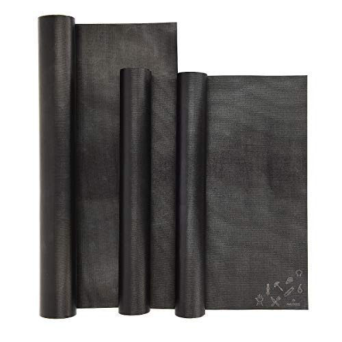Navaris Set de 3 Alfombrillas para Grill - Kit de 3 láminas...