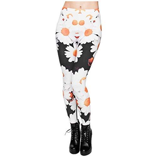 PFJWFE Heißer 3D Print Daisy Frauen Leggings Sexy Leggins Shiny Tayt Fitness Winter Mädchen -