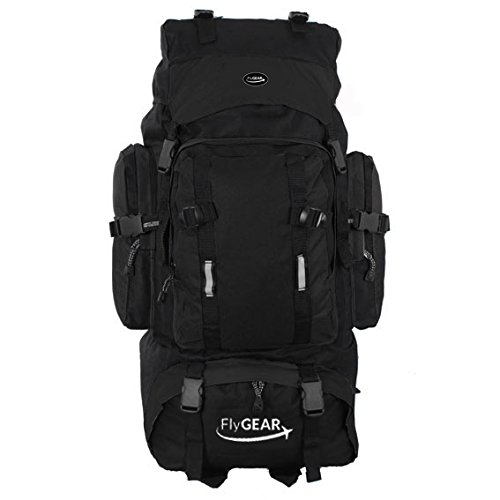 Extra Large 80 Litre Travel Hiking Camping Rucksack Backpack Holiday Luggage Bag (Black)