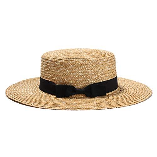 yazhi Sunhat Unisex Sommer Strohhüte Frauen Breiter Krempe Flat Top Beach Herren Bootsmann Hut