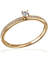 Goldmaid Damen-Ring Verlobung 585 Diamant (0.18 ct) weiß Brillantschliff - Pa R7437GG