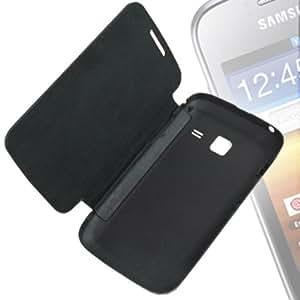 Leather Flip Case For Samsung Galaxy Y Duos S6102 (Black)