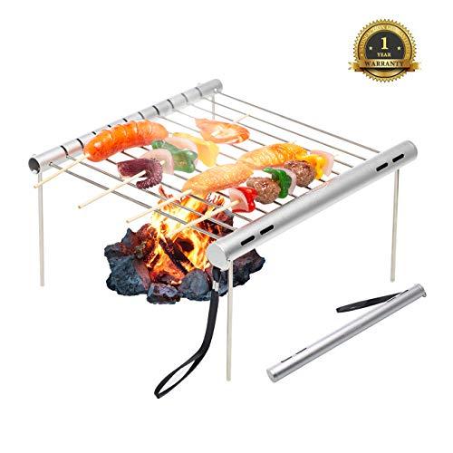 Overmont griglia cromata per barbecue portatile e resistente adatto per campeggio
