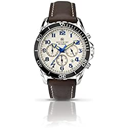 Accurist Men's Quartz Watch with Off-White Dial Chronograph Display and Brown Leather Strap 7055.01