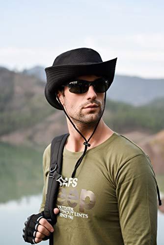 Imagen de anaoo sombrero hombre  de verano sombrero pesca del sol  al aire libre sombrero playa hombre plegable de ala ancha protección uv, color negro alternativa