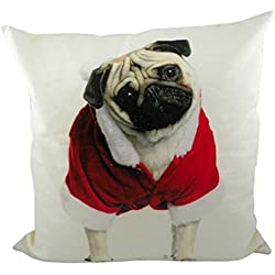 Mars & More Mops – Cojín Funda de cojín con interior Cojín Navidad Carlino Cushion Canvas Christmas Pug