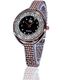 Fusine™ Two Tone Rose Gold- Silver Stylish Metal Rose Gold Watch For Women & Girls (Black Dial)