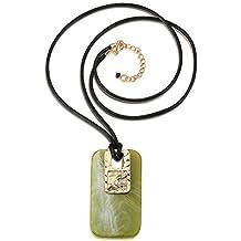 dd174da83988 Z HA Collares Largos para Mujeres Cuero Cuerda Rectangular Acrílico Piedra  Textura Ámbar Colgante Collar Cordón