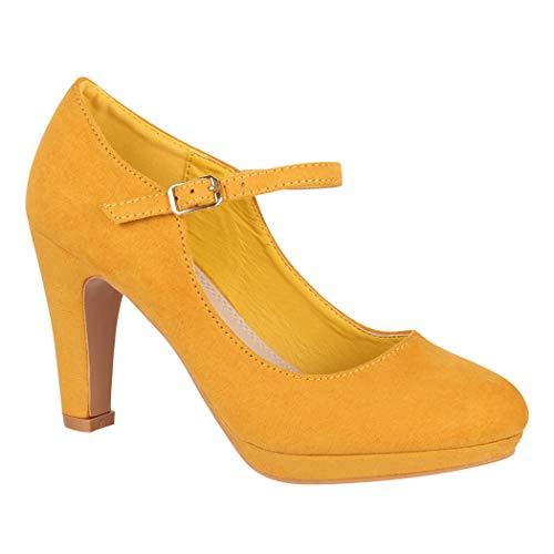 Elara Damen Pumps | Bequeme Riemchen High Heels | Vintage-Style | Abendschuh Trendy | Chunkyrayan | BL692-PM Yellow-40