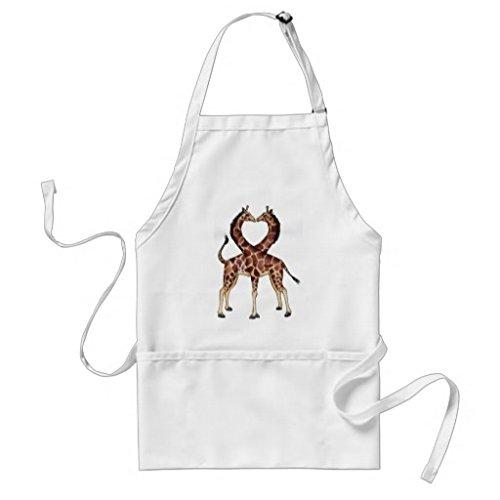 Professional Chef tabliers pour femme Girafe Amour Tablier de cuisine Commercial Restaurant Home Unisexe tabliers Blanc cou réglable Attaches de tour de taille