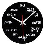 vientiane Reloj de Pared de Matemáticas, Novedad Timelike Reloj Fórmulas Matemáticas, Cada Hora Marcada por una Ecuación Matemática Simple para Aula, Hogar, Oficina Decoración Moderna (Negro 30 cm)