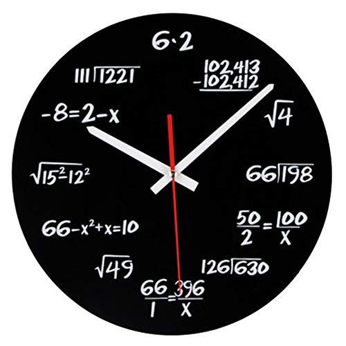 vientiane Mathematik Wanduhr, Neuheit Timelike Einzigartige Wanduhr Mathematische Formeln Uhr, Einfache Mathematische Gleichung für Klassenzimmer, Haus, Büro Moderne Dekoration (Schwarz 30cm)