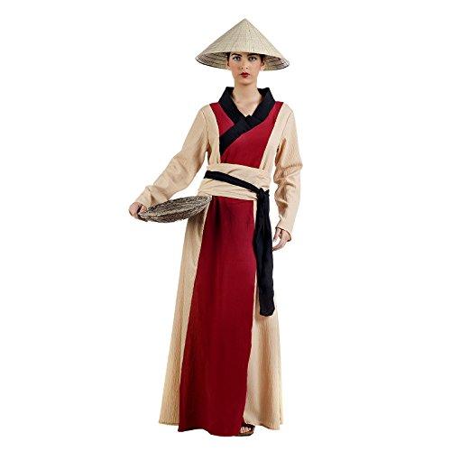 Chinesische Dame Kostüm für Karneval und Asien Mottoparty beige rot - L