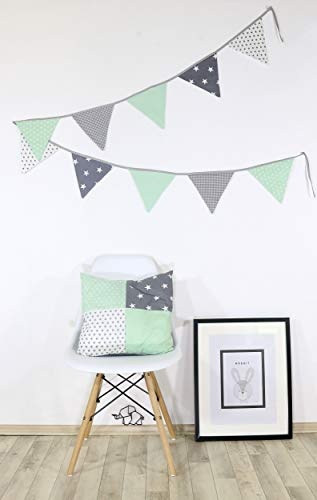 ULLENBOOM ® Patchwork Kissen 40x40 cm mit Füllung Mint Grau (100% Baumwolle, als Dekokissen oder Kinderzimmer Zierkissen, Motiv: Sterne) (Mint-sofa-kissen)