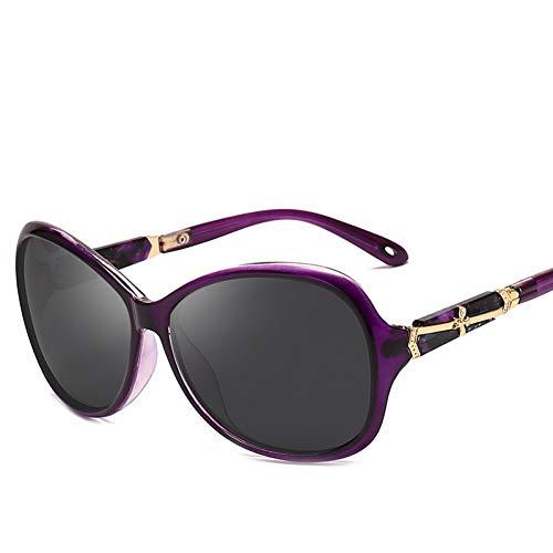 ZRTYJ Sonnenbrillen Retro Polarisierte Frauen-Sonnenbrille-Damen-Marken-Design-Gläser Ovaler Rahmen-Pers5Onlichkeits-Metallinlay