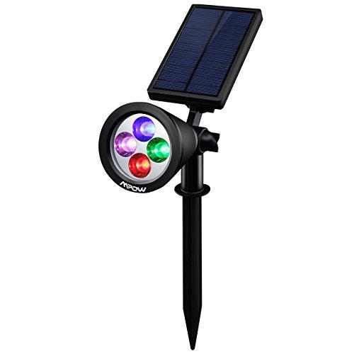 [LED 4 Farbe ]Mpow Spot Leuchte Solarleuchten mit 4 Farben LED IP65 Wasserdicht Gartenleuchten mit 200 Lummen Gartenleuchte mit Erdspieß Solar Spotlight für Garten Deko Garten / Outdoor Landscape