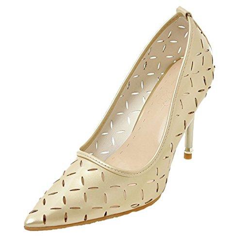 VogueZone009 Donna Puro Pelle di Maiale Tacco Alto Scarpe A Punta Tirare Ballerine Oro