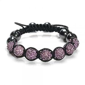 Braclet d'amitié Shamballa, ensemble de perles en cristal, boules disco - Violet