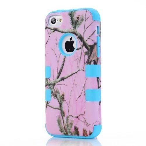iPhone 5C hülle,Lantier Defender Body Armor Realtree Camo harter Silikon Gummi Military Rugged Schutzhülle Combo mit Camouflage hölzerne Entwurfs Abdeckung für Apple iPhone 5C [Green Tree Schwarz] Pink Tree Sky Blue