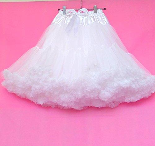 FOLOBE Frauen-Ballettröckchen-Kostüm-Ballett-Tanz mehrschichtiger geschwollener Rock-erwachsener luxuriöser weicher Petticoat 60cm / 23.6  Weiß