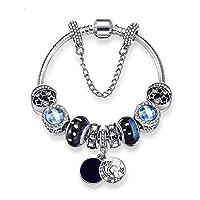 925 سوار فضي متدلي من الكريستال الزجاجي الخرز Pandora عناصر المعصم سلسلة سحر مجوهرات للنساء الحب هدية