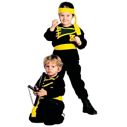 Für Kostüm Jungen Trikot (Kleiner Samurai Kostüm Ninja Kinderkostüm 104 cm Black Ninjakostüm Asia Krieger Jungenkostüm Japan Kämpfer Karnevalskostüm Karate Trikot Anzug)