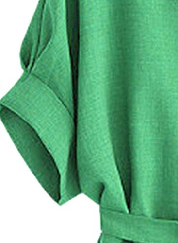 Azbro Women's V Neck Short Sleeve Tie Waist Solid Blouse Light Grey