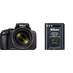 Nikon Coolpix P900 Digitalkamera (16 Megapixel, 83-fach optischer Megazoom, 7,5 cm (3 Zoll) RGBW-Display mit 921.000 Pixel, Full-HD-Video, Wi-Fi) schwarz & VFB11702 EN-EL23 Lithium-Ion Akku