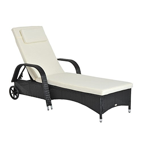Outsunny lettino sedia a sdraio prendisole da giardino in rattan altezza regolabile con ruote, cuscino