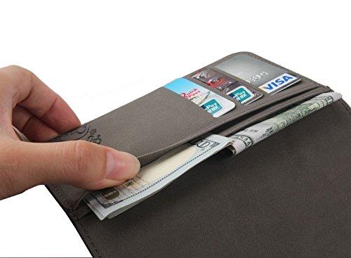 Gukas Design Veritable Cuir Etui Pour Apple iPhone SE / 5 5G 5S Housse Coque Premium Case Cover Flip Protecteur Portefeuille Genuine Leather Wallet (Noir) Rouge Fonce