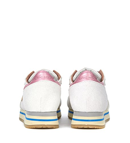 Philippe Model Sneaker Tropez Higher in Tessuto Bianca e Rosa White