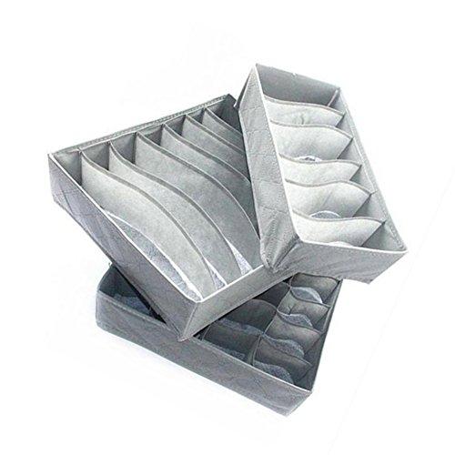 3x Toruiwa Boîte de Rangement Pliable Organisateur de Tiroir pour Lingerie, Foulard, Sous-vêtements, Chaussette 6/7/24 Compatriments