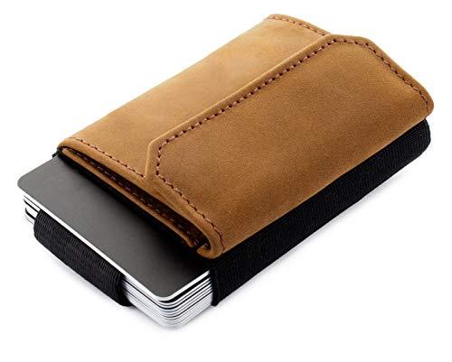 JAIMIE JACOBS Minimalist Wallet Nano Boy Pocket Mini Geldbörse aus Textil mit Zugband schmaler Kartenhalter für Herren und Damen (Büffelleder Hellbraun)