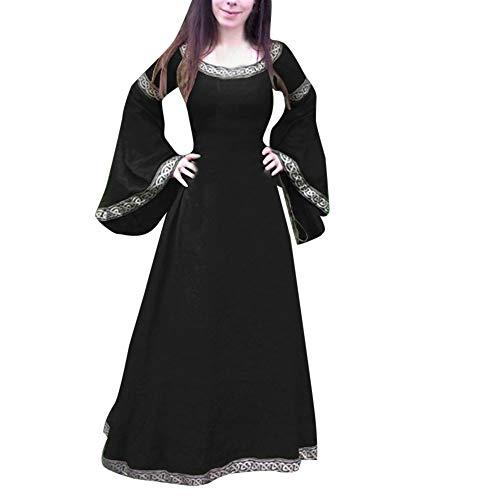 lterliches Kleid Unregelmäßige Lange Ärmel Cosplay Maxi Kleider Kostüm für Karneval, Maskerade(3XL,Schwarz) ()