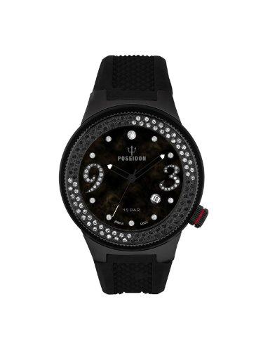 Poseidon-Kienzle - K2112044013-00424 - Montre Femme - Quartz Analogique - Cadran Noir - Bracelet Silicone Noir