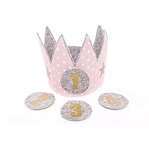 Geburtstagskrone Kinder Der Wollprinz Krone, Kinder Geburtstag Krone Kinderkrone Stoffkrone Geburtstagskrone Rosa mit den Zahlen 1,2,3, 4