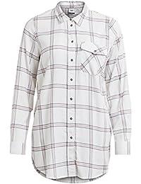 Object Anna Damen Hemd-Bluse reine Baumwolle | Karo-Hemd kariert mit klassichem Kragen und Brust-Tasche | Flanell-Hemd mit Streifen