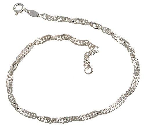 Fußkette Singapur 3mm Durchmesser 925 Silber Länge wählbar von 23-30cm