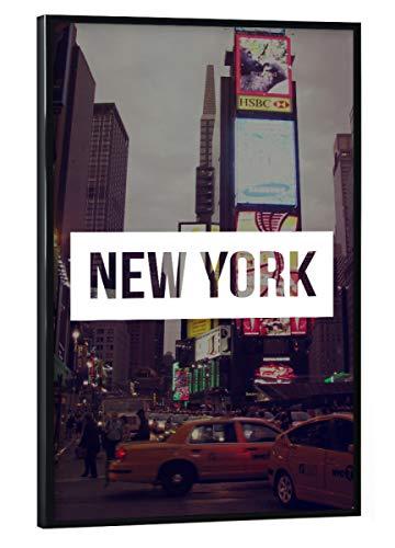 artboxONE Poster mit schwarzem Rahmen 30x20 cm Städte/New York Time Square - Bild NYC häuser usa