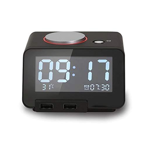 KIOio Reloj Despertador Multifuncional para música, termómetro para Interiores, Cargador de teléfono móvil, Puerto Dual USB, luz Nocturna silenciosa Tono de Llamada Personalizado Personalizado